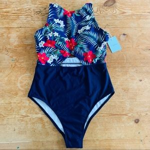 New Cupshe Hi Neck Tropical One Piece Swimsuit S